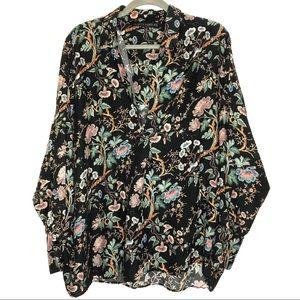 Zara Woman Black Floral Print V-Neck Blouse XXL